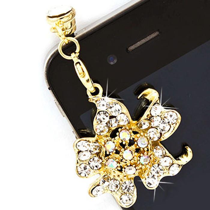 Earphone Dustproof Plug Stopper Phone Ear Cap Crystal Rhinestone Floral Gold