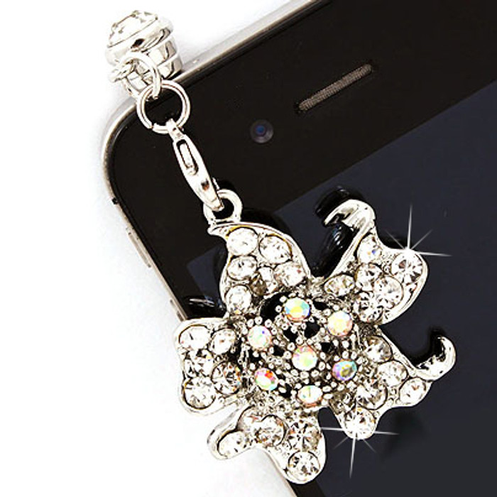 Earphone Dustproof Plug Stopper Phone Ear Cap Crystal Rhinestone Floral Silver