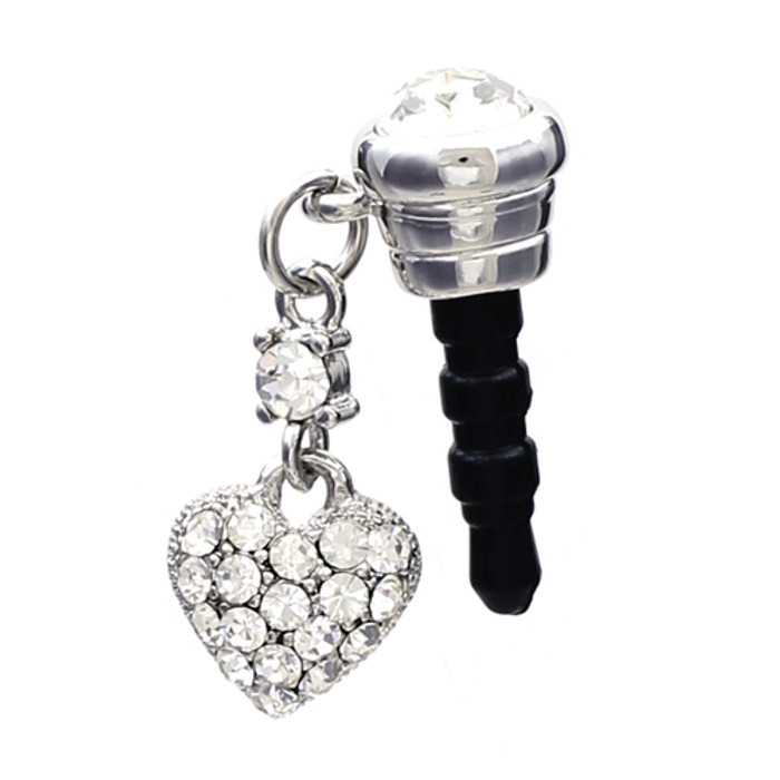 Earphone Dustproof Plug Stopper Phone Ear Cap Crystal Rhinestone Heart Silver