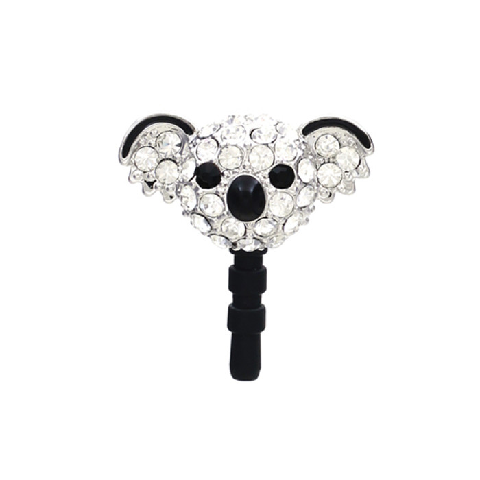 Earphone Dustproof Plug Stopper Phone Ear Cap Crystal Rhinestone Koala Silver