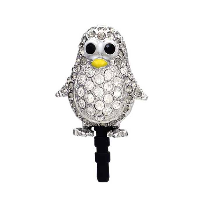 Earphone Dustproof Plug Stopper Phone Ear Cap Crystal Rhinestone Penguin Gray