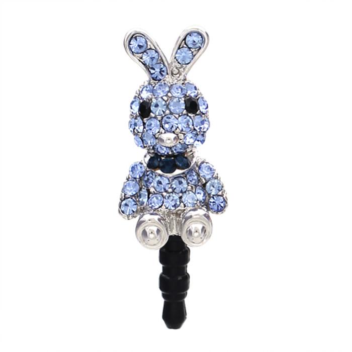 Earphone Dustproof Plug Stopper Phone Ear Cap Crystal Rhinestone Rabbit Blue