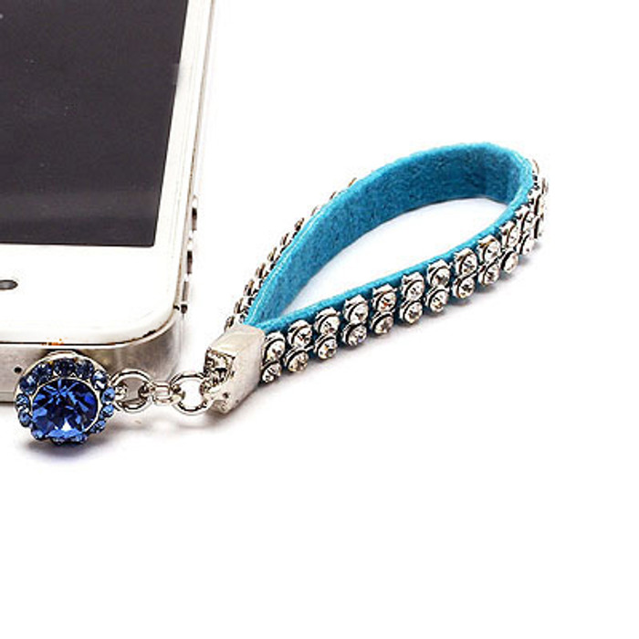 Earphone Dustproof Plug Stopper Phone Ear Cap Crystal Strap Design Turquoise