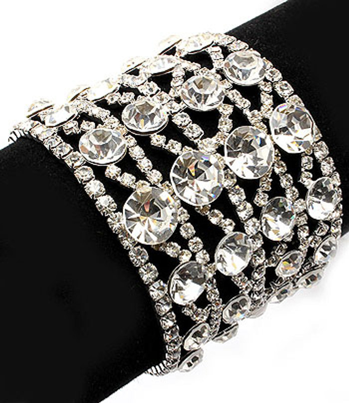Bridal Wedding Jewelry Crystal Rhinestone 4 Rows Wide Bracelet Silver Clear