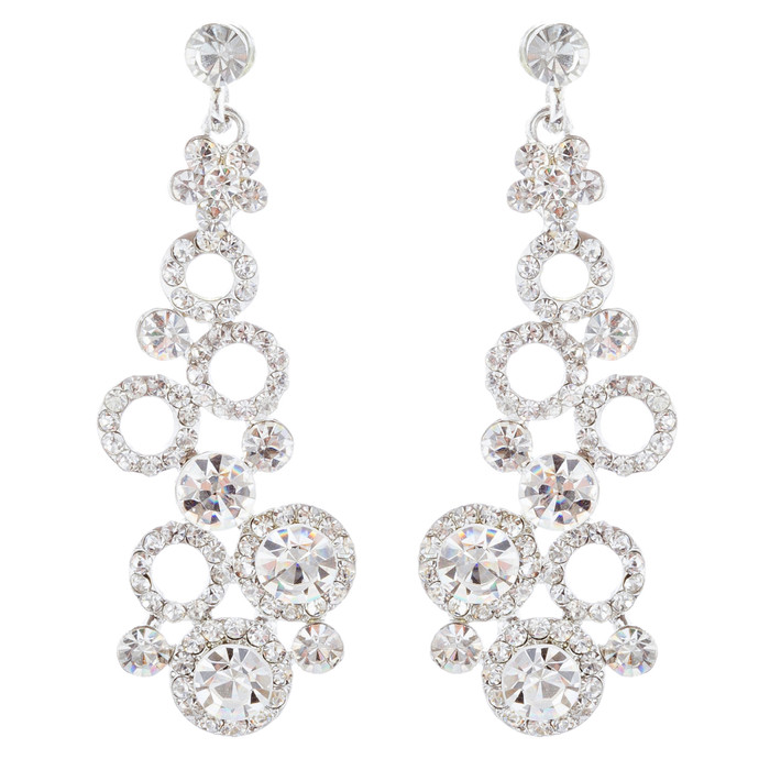 Bridal Wedding Jewelry Crystal Rhinestone Dot Linked Dangle Drop Earrings Silver