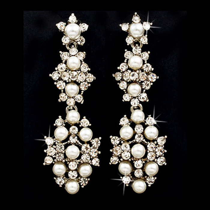 Bridal Wedding Jewelry Crystal Rhinestone Pearl Beautiful Dangle Earrings Silver