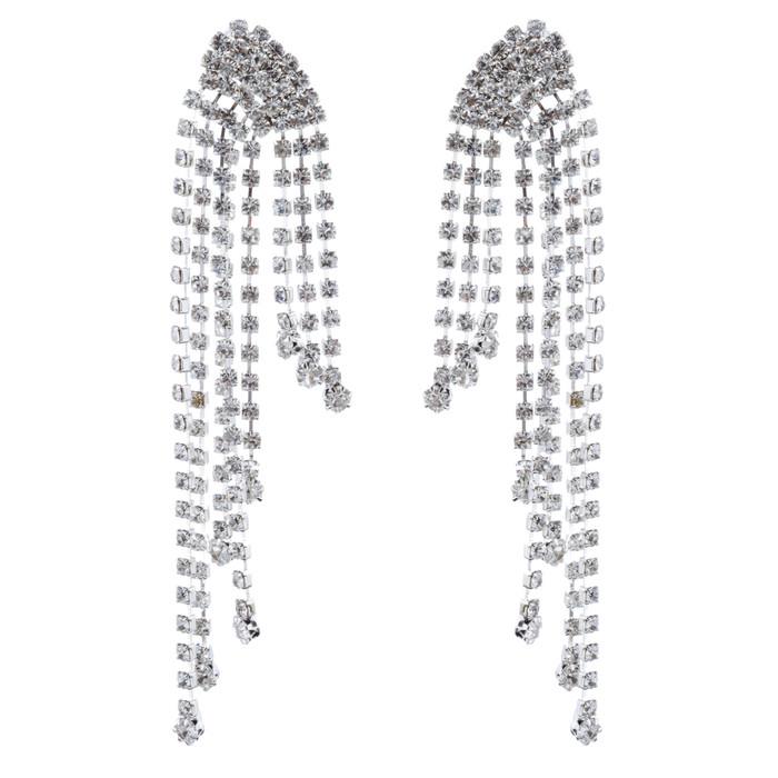 Bridal Wedding Jewelry Crystal Rhinestone Drapery Design Drop Earrings Silver
