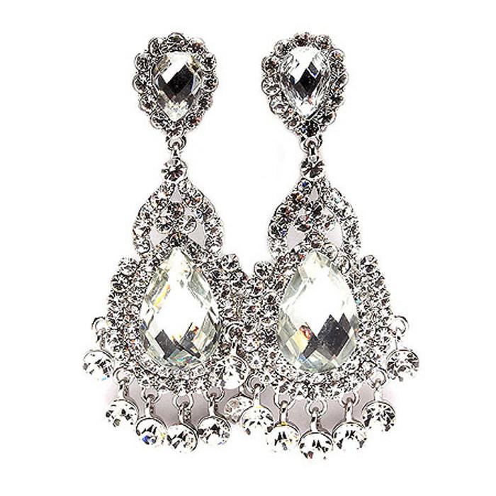 Bridal Wedding Jewelry Crystal Rhinestone Glamorous Dangle Clip On Earrings