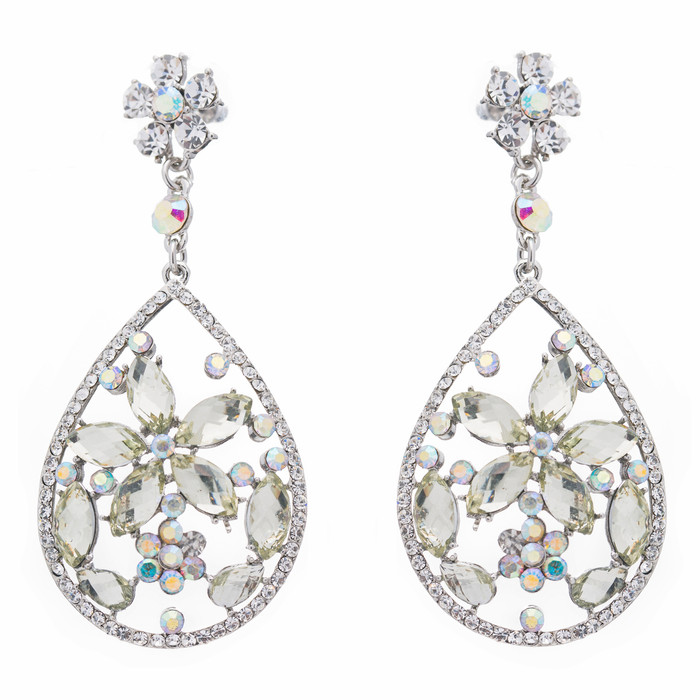 Bridal Wedding Jewelry Crystal Rhinestone Glamorous Teardrop Dangle Earrings