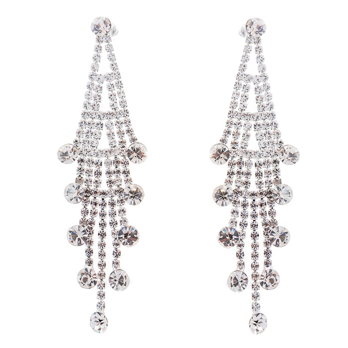 Bridal Wedding Jewelry Crystal Rhinestone Layered Linear Dangle Earrings Silver