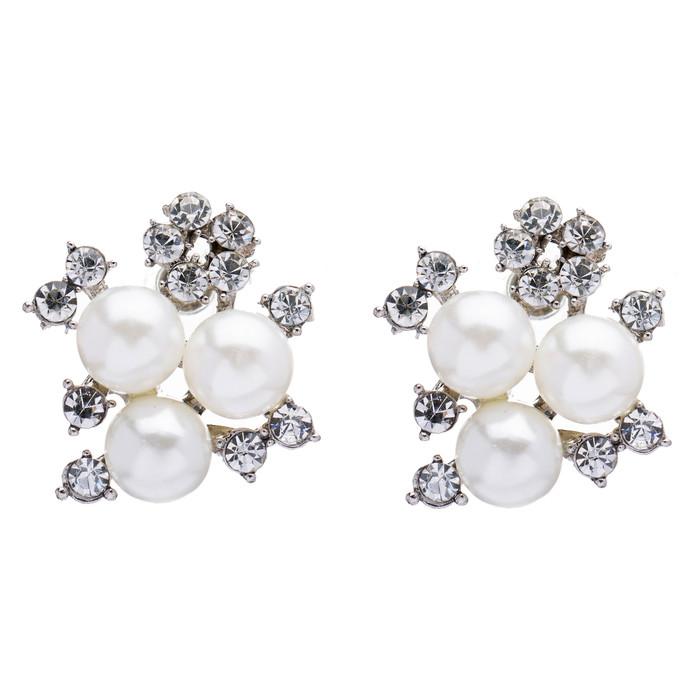 Bridal Wedding Jewelry Crystal Rhinestone Pearl Sparkle Stud Earrings Ivory LG