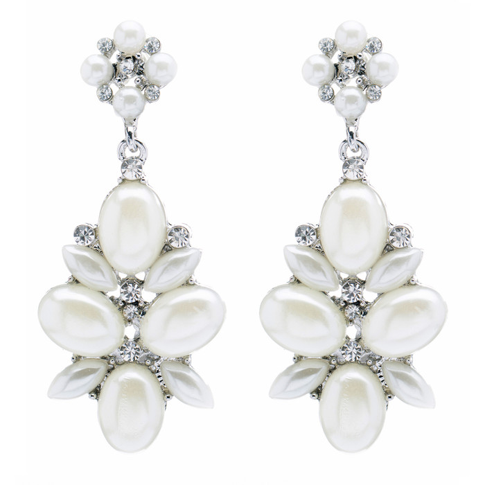 Bridal Wedding Jewelry Crystal Rhinestone Pearl Cluster Dangle Earrings Ivory