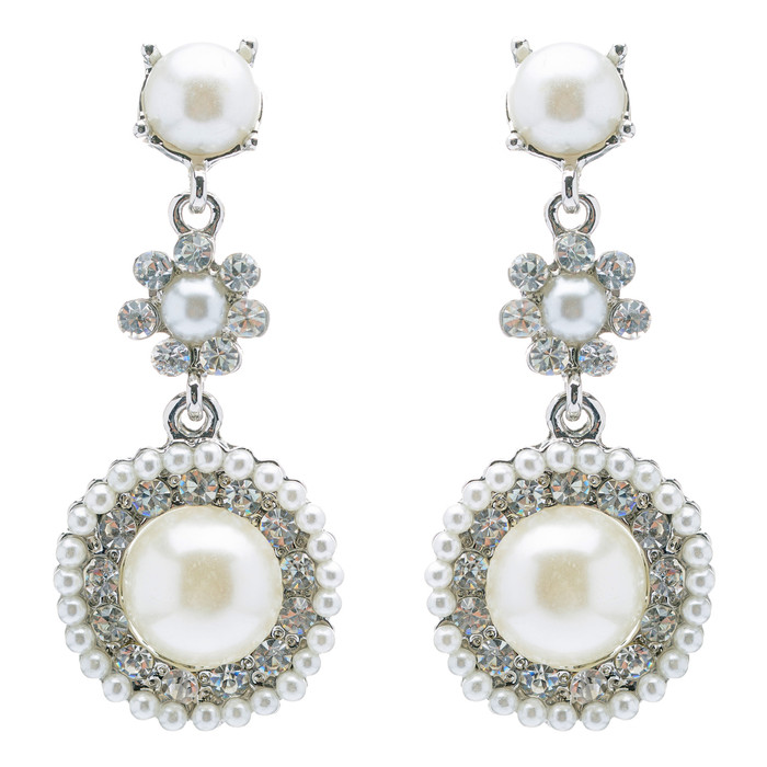Bridal Wedding Jewelry Crystal Rhinestone Pearl Circle Dangle Earrings Ivory