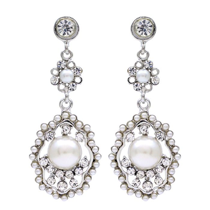 Bridal Wedding Jewelry Crystal Rhinestone Pearl Vintage Dangle Earrings Ivory