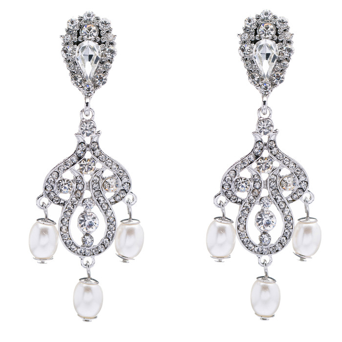 Bridal Wedding Jewelry Crystal Rhinestone Pearl Vintage Dangle Earrings White