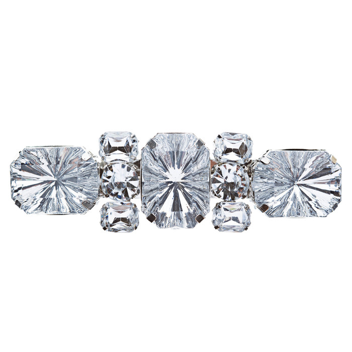 Bridal Wedding Jewelry Crystal Multi Shapes Cut Dazzle Hair Barrette Clip Silver