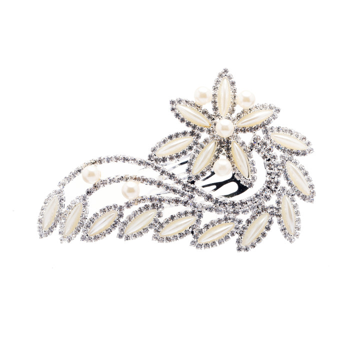 Bridal Wedding Jewelry Crystal Rhinestone Pearl Floral Navette Hair Comb Pin