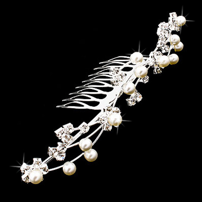 Bridal Wedding Jewelry Crystal Rhinestone Pearl Floral Vine Hair Comb Pin Tiara