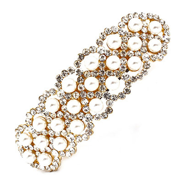 Bridal Wedding Jewelry Crystal Rhinestone Pearl 3-Row Hair Barrette Clip Gold