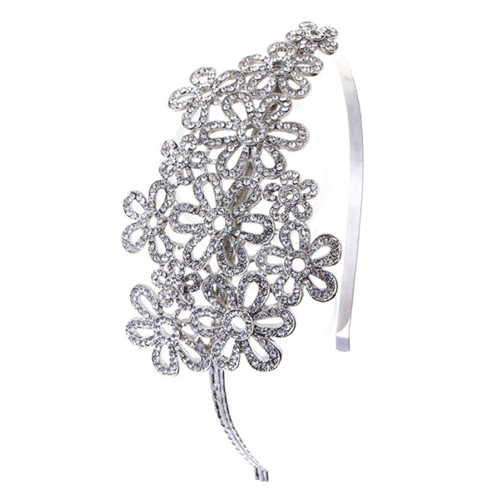 Bridal Wedding Jewelry Hair Headband Tiara Crystal Rhinestones Flower Cluster