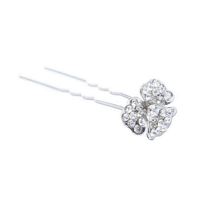 Bridal Wedding Jewelry Crystal Rhinestone Simple Daisy Floral Hair Pin Silver