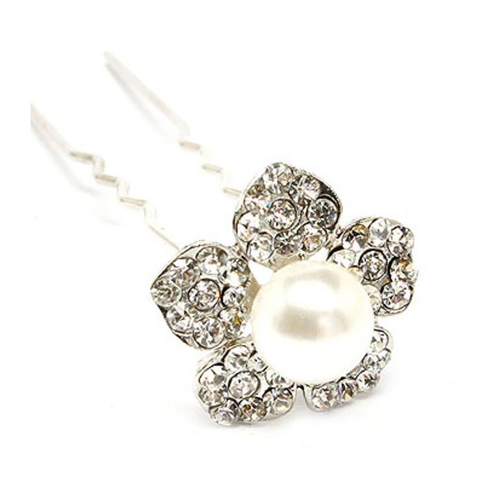 Bridal Wedding Jewelry Crystal Rhinestone Pearl Daisy Floral Hair Pin White