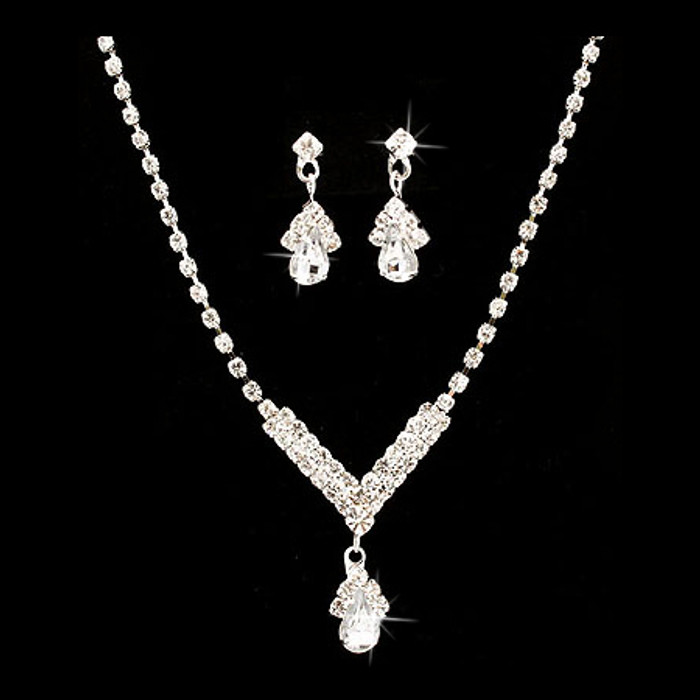 Bridal Wedding Jewelry Set  Necklace Earring Crystal Rhinestone SM V Drop Silver