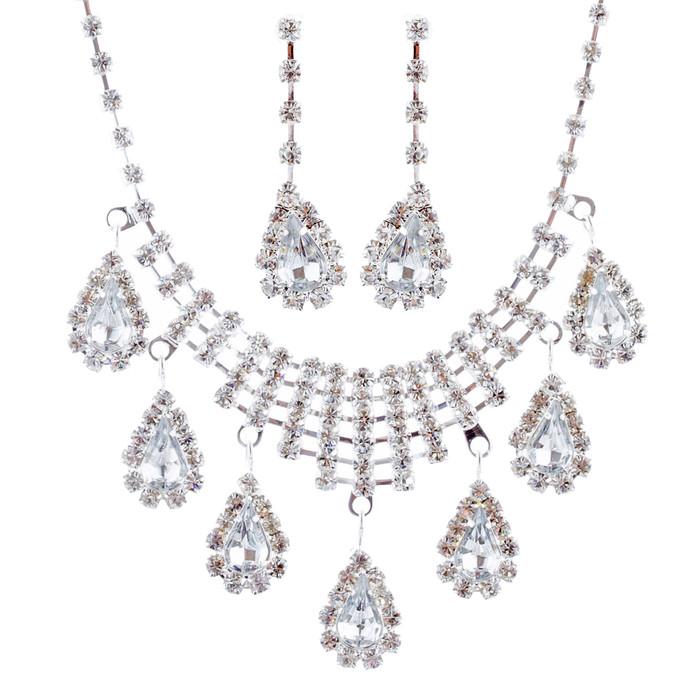 Bridal Wedding Jewelry Set Crystal Rhinestone Dangle Teardrop Necklace Silver