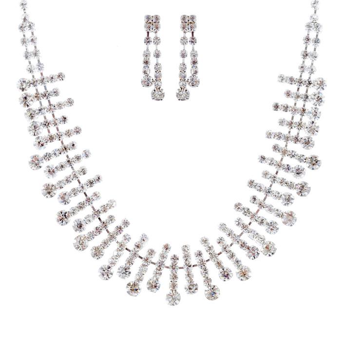 Bridal Wedding Jewelry Set Crystal Rhinestone Chic Trendy Necklace Silver Clear