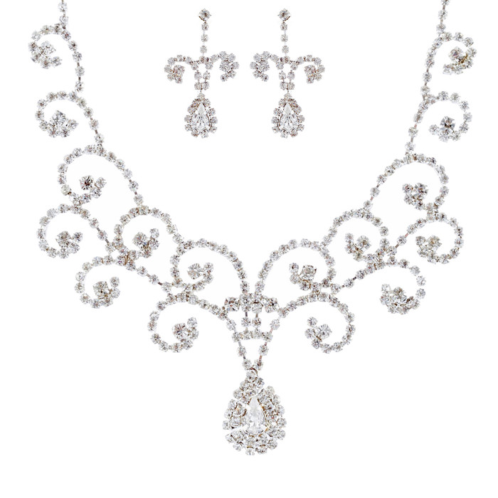 Bridal Wedding Jewelry Set Crystal Rhinestone Vintage Swirl Necklace Silver