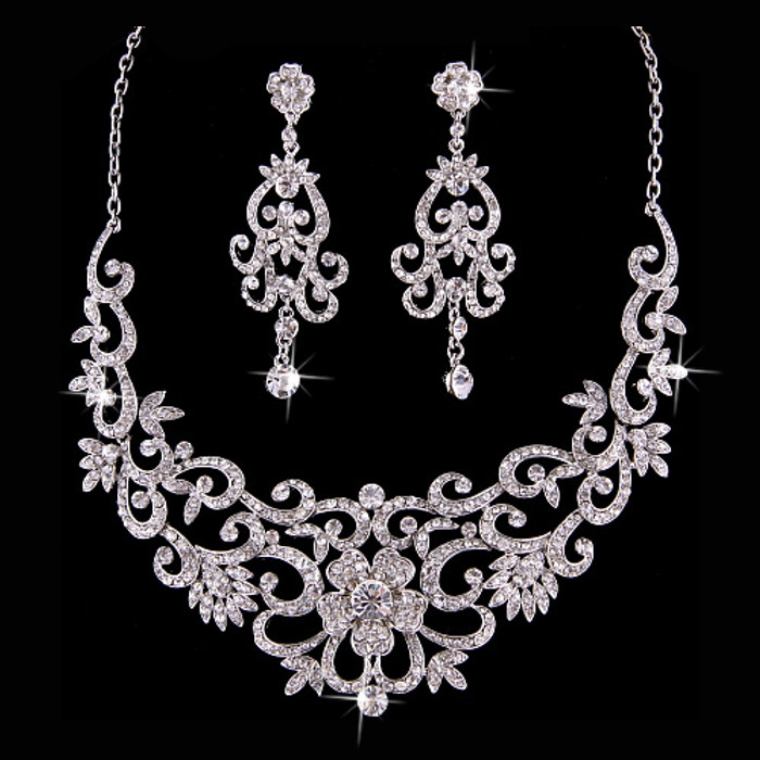 Bridal Wedding Jewelry Set  Crystal Rhinestone Vintage Floral Necklace Silver