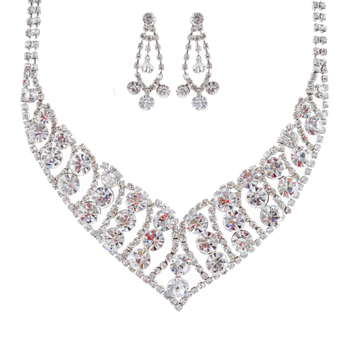 Bridal Wedding Jewelry Set Crystal Rhinestone Bubbly V Drop Necklace