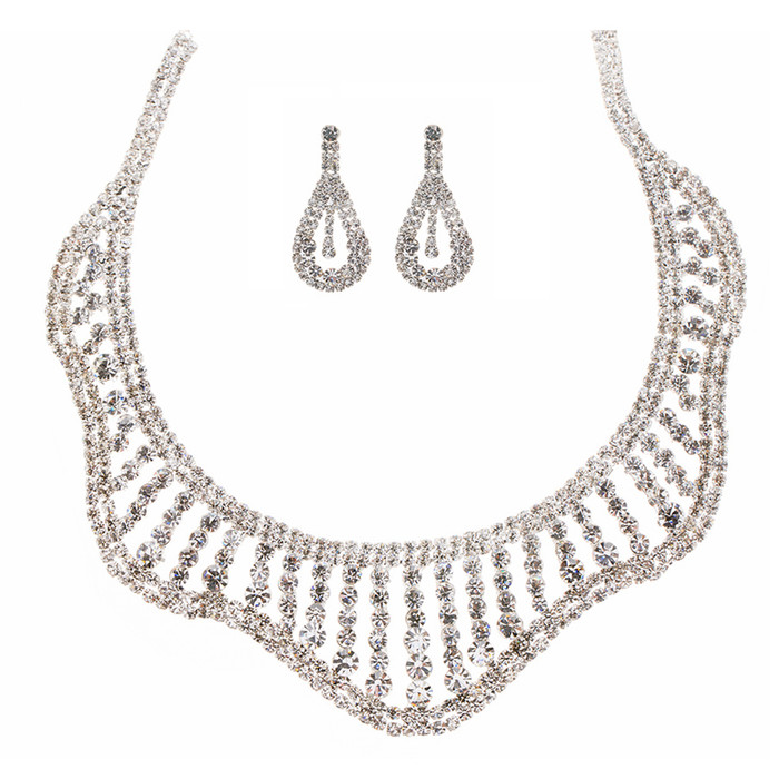 Bridal Wedding Jewelry Set Crystal Rhinestones Wavy Curl Bib Necklace Silver