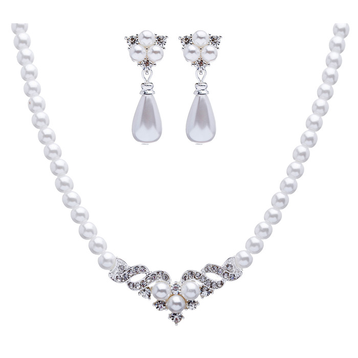 Bridal Wedding Jewelry Set Crystal Pearl Beautiful Elegant Necklace
