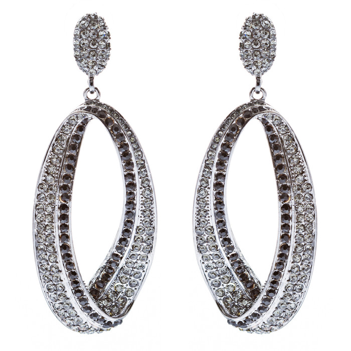 Fashion Stunning Crystal Open Hoop Drop Earrings Black