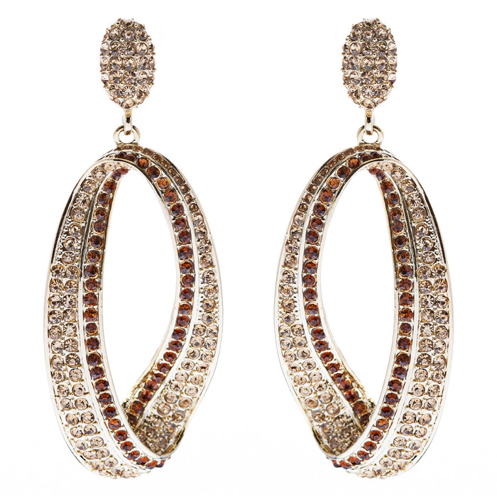 Fashion Stunning Crystal Open Hoop Drop Earrings Brown