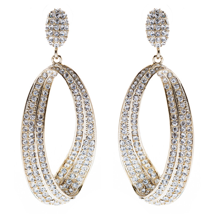 Fashion Stunning Crystal Open Hoop Drop Earrings Gold