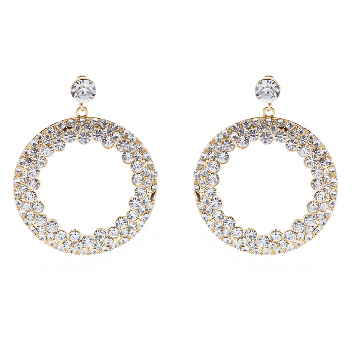 Fashion Stunning Crystal Round Dangle Earrings Gold