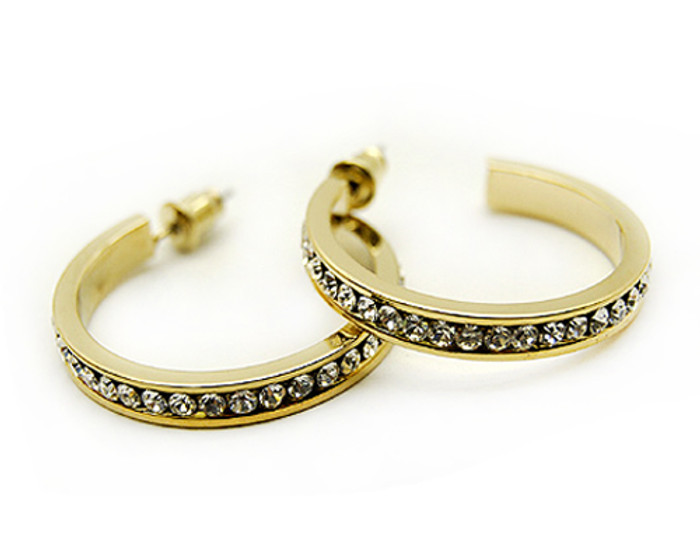 "Crystal Rhinestone Open Hoop Round 1.1"" Drop Fashion Earrings Gold Clear"