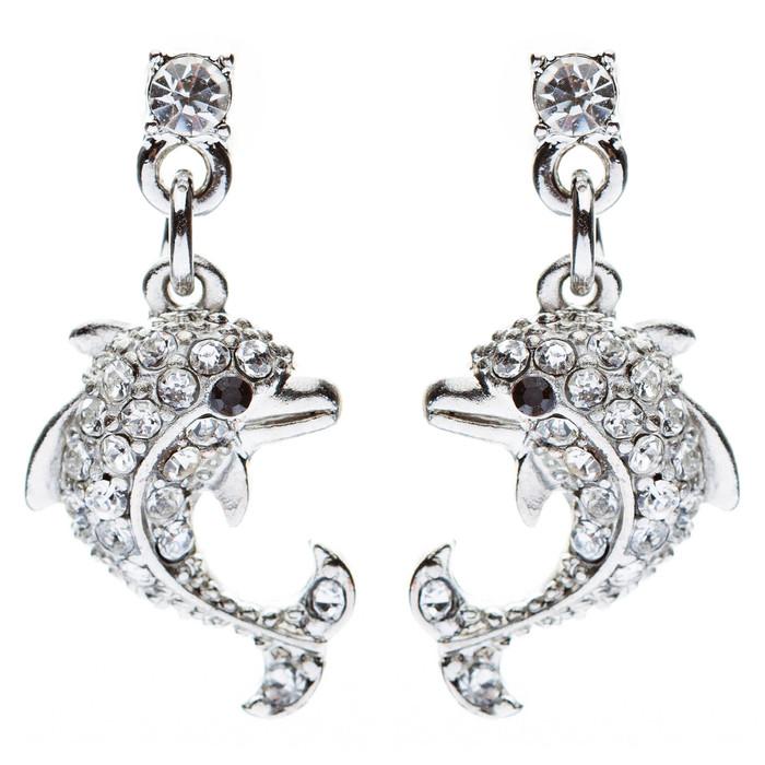 Dolphin Ocean Sea Crystal Rhinestone Charm Fashion Dangle Earrings Silver Clear