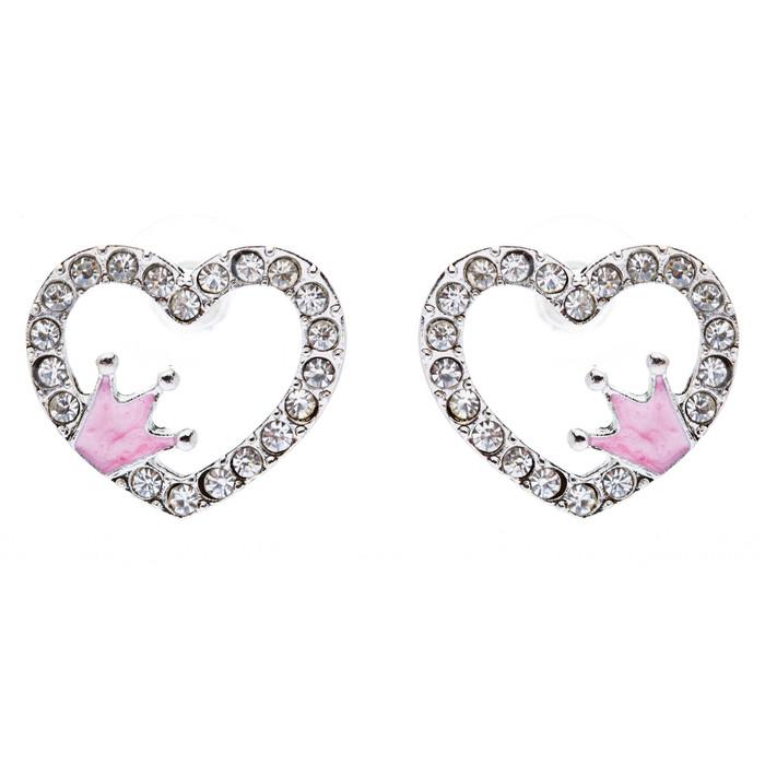 Sparkle Heart Shape with Crown Fashion Medium Stud Earrings Valentine Love