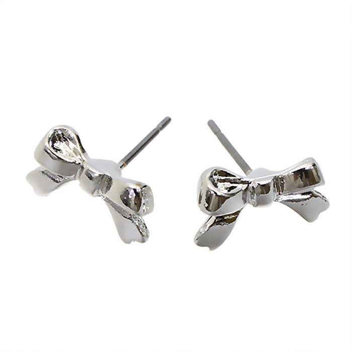 Adorable Mini Bow Tie Ribbon Simple Sweet Fashion Small Stud Earrings Silver