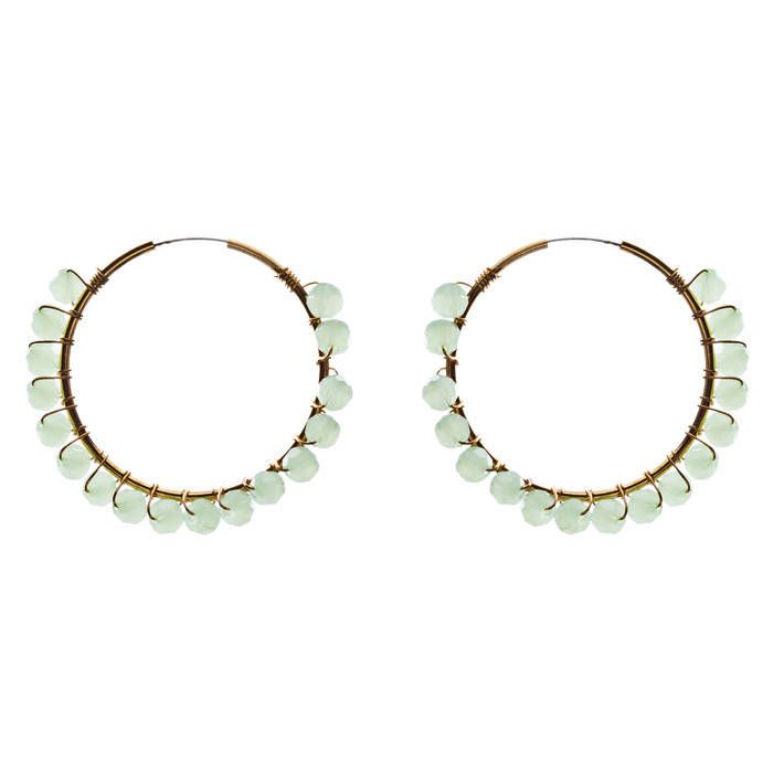 Crystal Wired Handmade Beautiful Fashion Dangle Hoop Earrings Gold Green