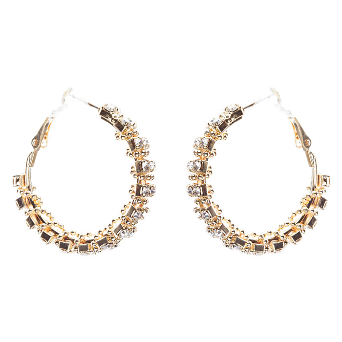 Beautiful Dazzling Beaded Wrap Double Row Crystal Rhinestone Hoop Earring Gold