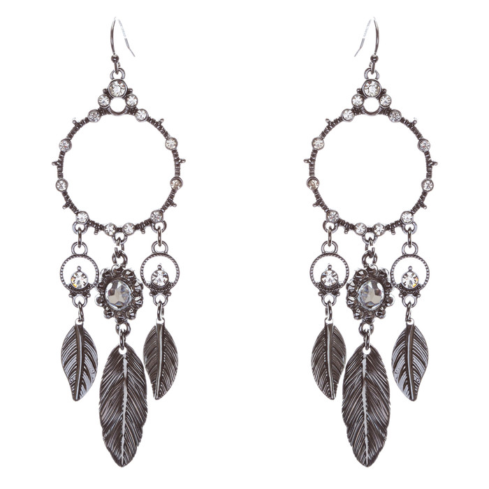 Beautiful Leaf Drop Circle Crystal Rhinestone Fashion Dangle Earrings Hematite