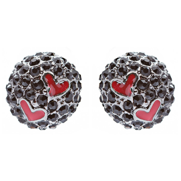 Adorable Sweet Crystal Rhinestone Heart Ball Fashion Stud Earrings Black Red