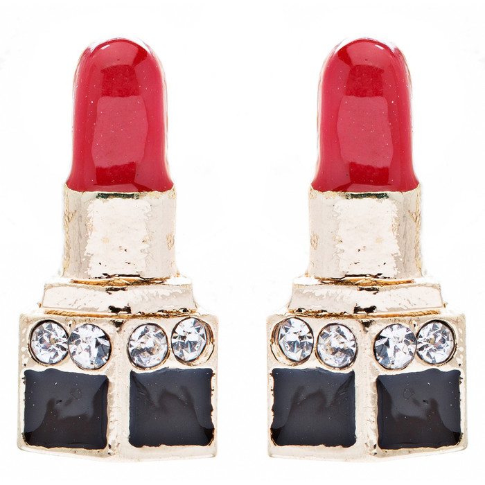 Fun Cute Mini 14mm Lipstick Crystal Rhinestone Enamel Stud Earrings Gold Red