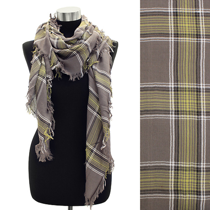 Plaid Design Fringed Rectangular Scarf Beige