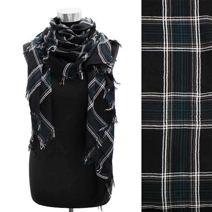 Plaid Design Fringed Rectangular Scarf Black