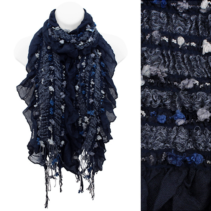 Stitched Elastic Detailed Fringes Ruffle Fashion Style Scarf Gray Blue